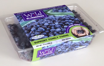 Frozen Wild Maine Blueberries, the little berry with big taste, distributed by Blue Sky Produce